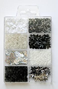 Perle og Paillet mix Sort/Hvid