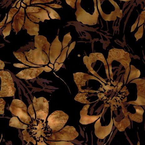6621 Sort med gyldne blomster bali batik patchworkstof