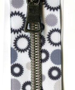 Hvid/grå lynlås 24 cm