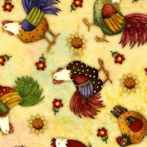 6531 - Gul patchworkstof med høns