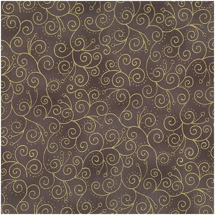 6734 Brun/grå m. guld snirkler - patchworkstof