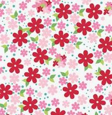 6407 Rød med rød og pink små blomster