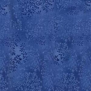 5975 - Mellemblå patchworkstof m. grene