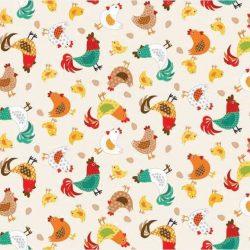 Beige m. høns og kyllinger