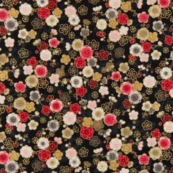 Sort m. blomster og guld