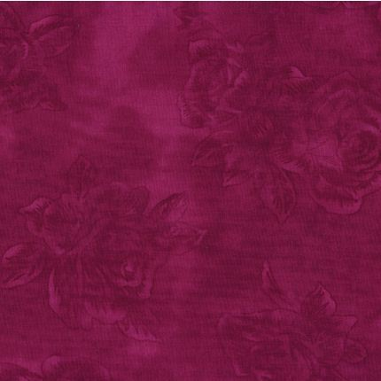 Bordeuax patchworkstof meleret med roser