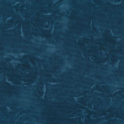 Mørk Tyrkis patchworkstof meleret med roser