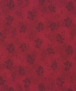 Rød patchworkstof med roser