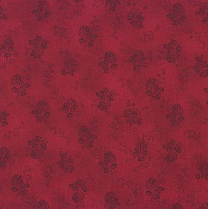 6949 Rød patchworkstof med roser