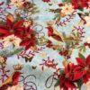 6721 Lyseblå med julestjerner og fugle patchwork stof