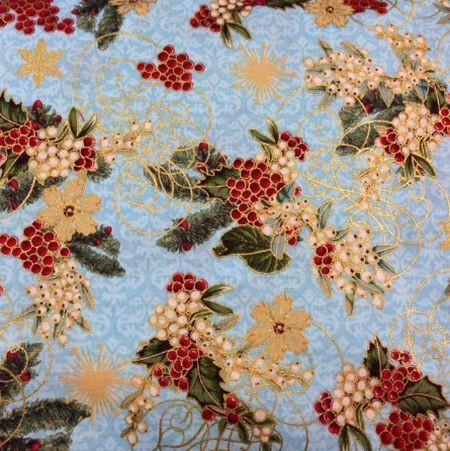 6722 Lyseblå med bær og guld patchwork stof