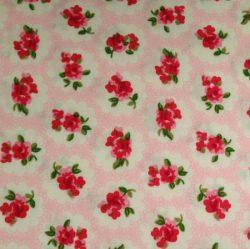 Lyserød stof med pink blomster