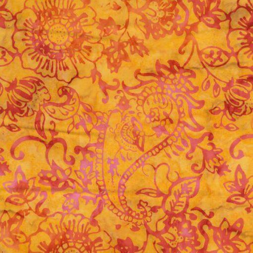 Gul med orange pink blomster Bali/Batik