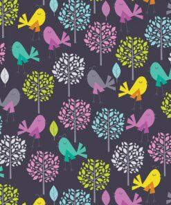 Mørkeblå med fugle og træer