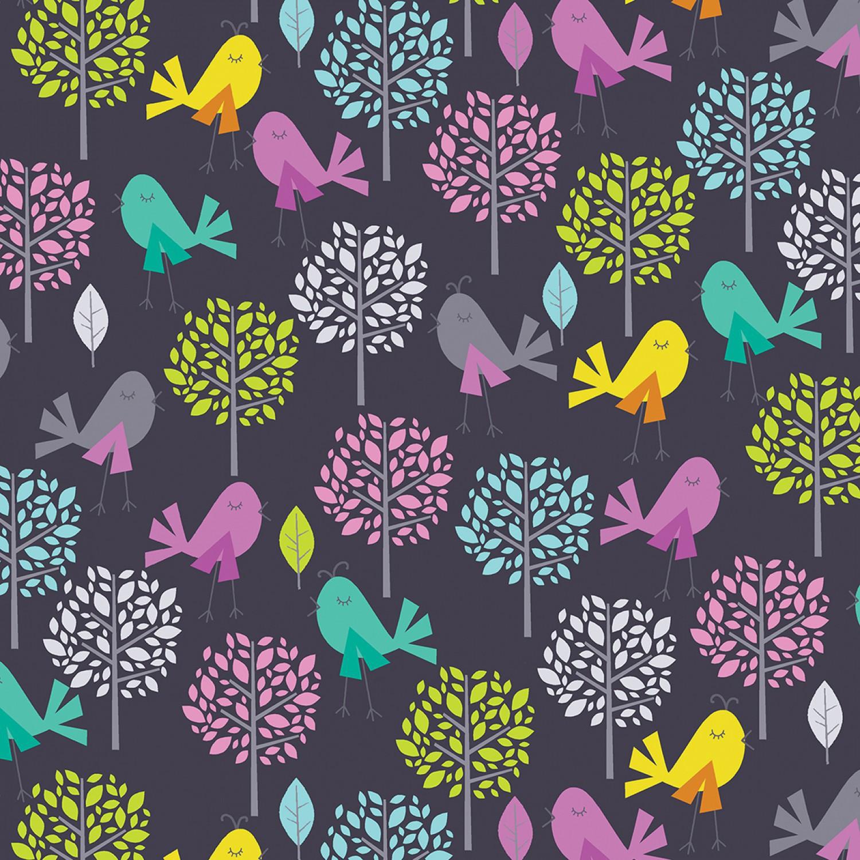 7063 Mørkeblå med fugle og træer