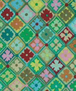 7071 - Grøn tern med blomster