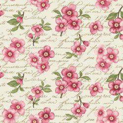 Creme med pink blomster