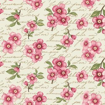 7123 Creme med pink blomster