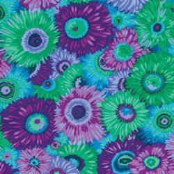 7194 - Grøn/Lilla blomster