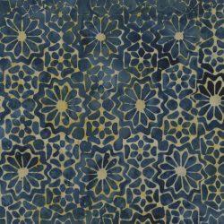 7206 Blå m. lyst blomster mønster Bali/Batik