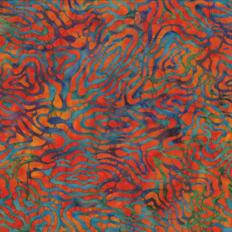 7223 Blå lilla bali batik med gyldent mønster