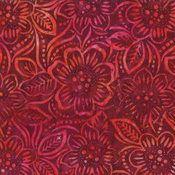 7227 Bordeaux med blomster bali batik