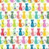 6645 Mange farvede katte på hvid bund
