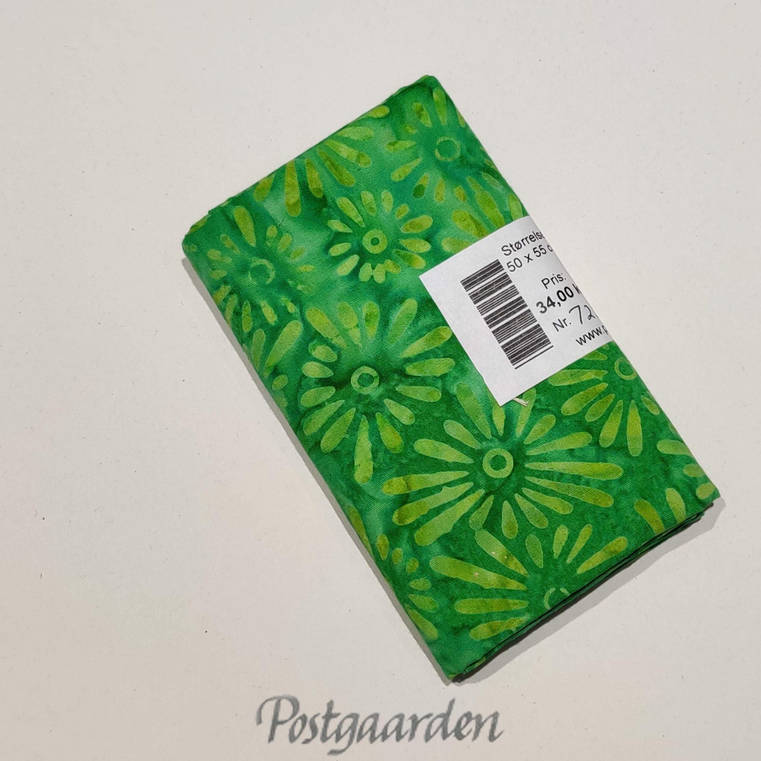 FQ7226 7226 Grøn med blomster bali batik patchwork stof