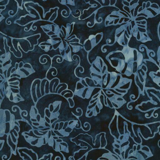 Blå med lyseblå blade Bali/Batik - 7253