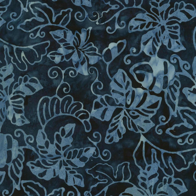 7253 Blå med lyseblå blade Bali/Batik - 7253