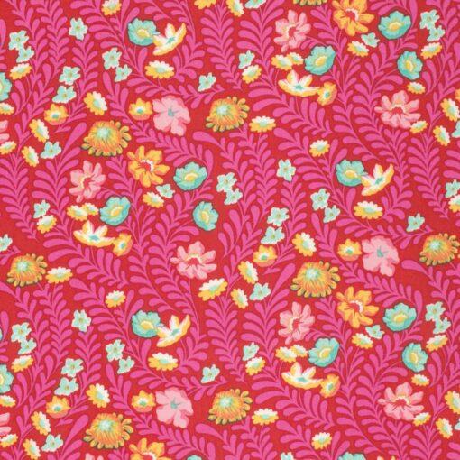 7293 Rød m. pink blade og blomst Tula Pink