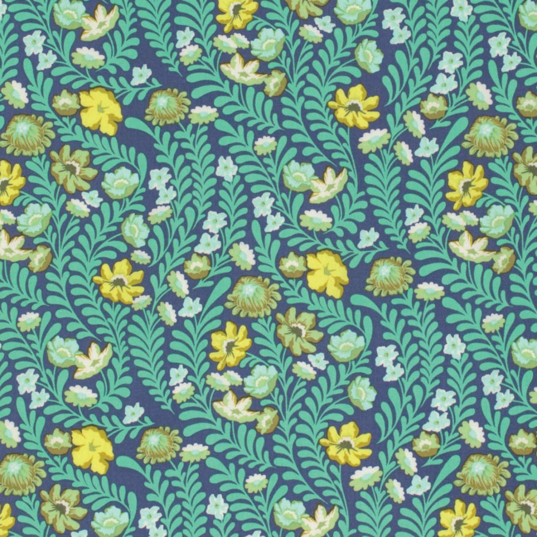7294 Blå m. tyrkis blade og blomst - Tula Pink