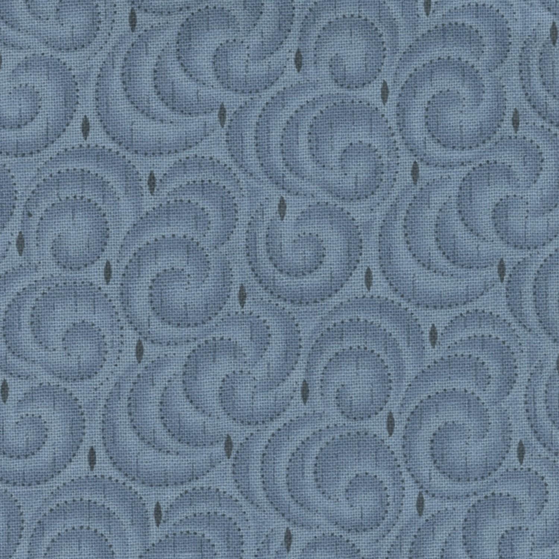 7307 Blå patchworkstof m. spiraler