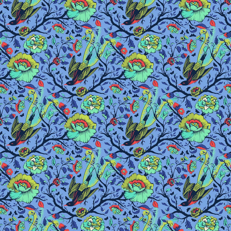 7334 Blå med fugle TULA PINK patchworkstof