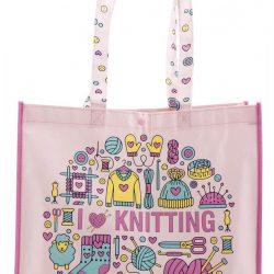 "Pink net ""I Love knitting"""
