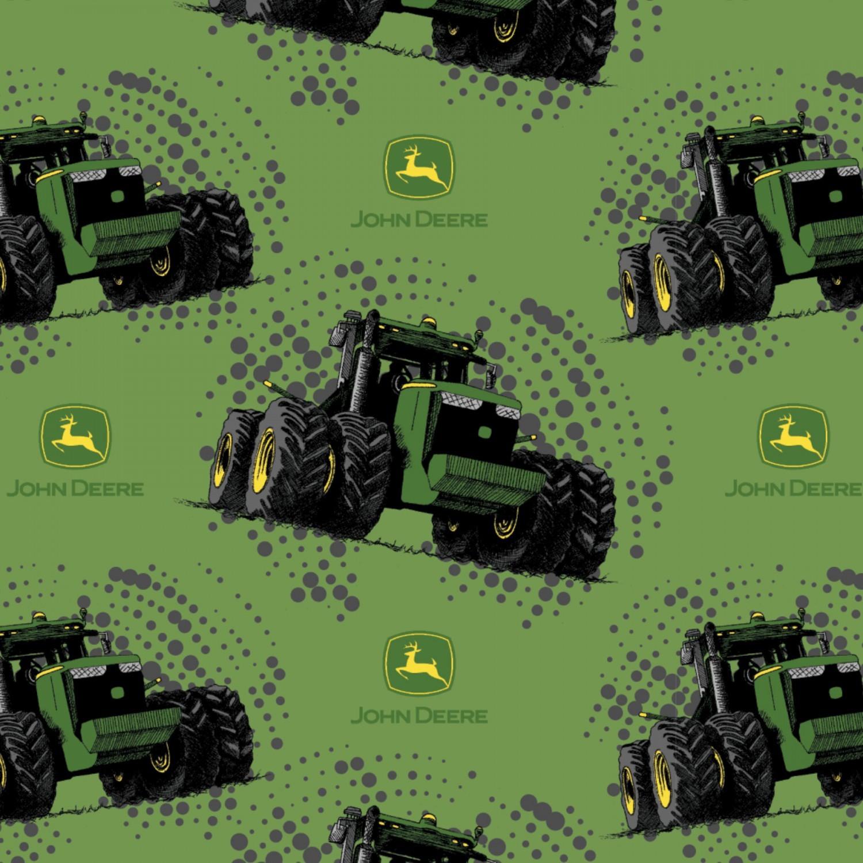 7348 - Grøn patchworkstof med John Deere Traktorer