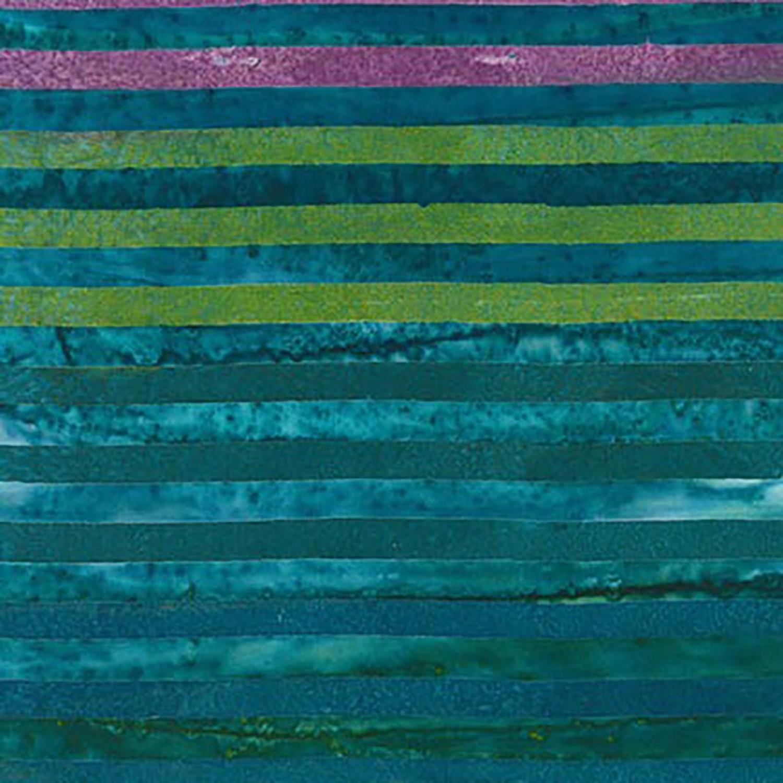 7364 - Tyrkis lilla strip - Bali batik
