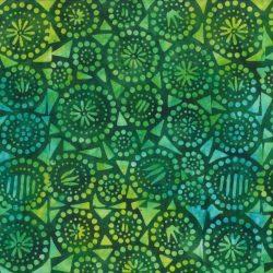 7362 Grøn med geometrisk mønster Bali Batik