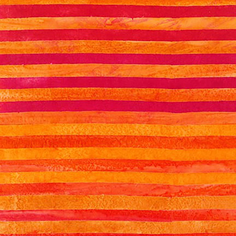 7373 Rød Orange Strib - Bali Batik
