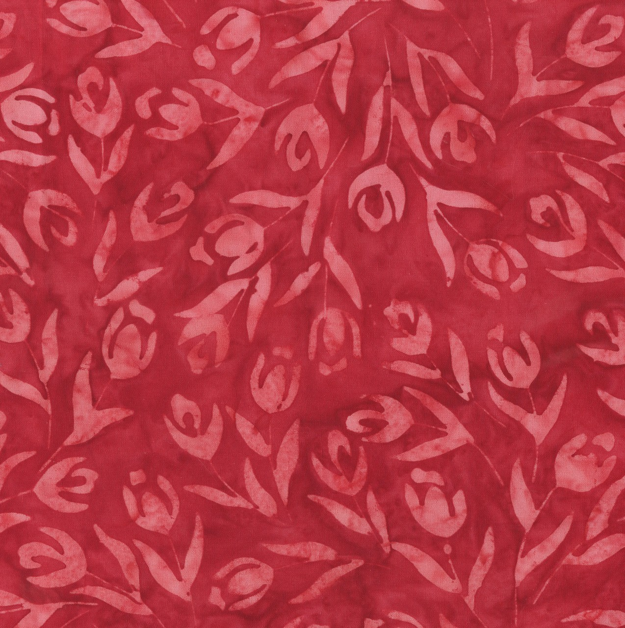 7391 Rød m. lysere tulipaner Bali/batik