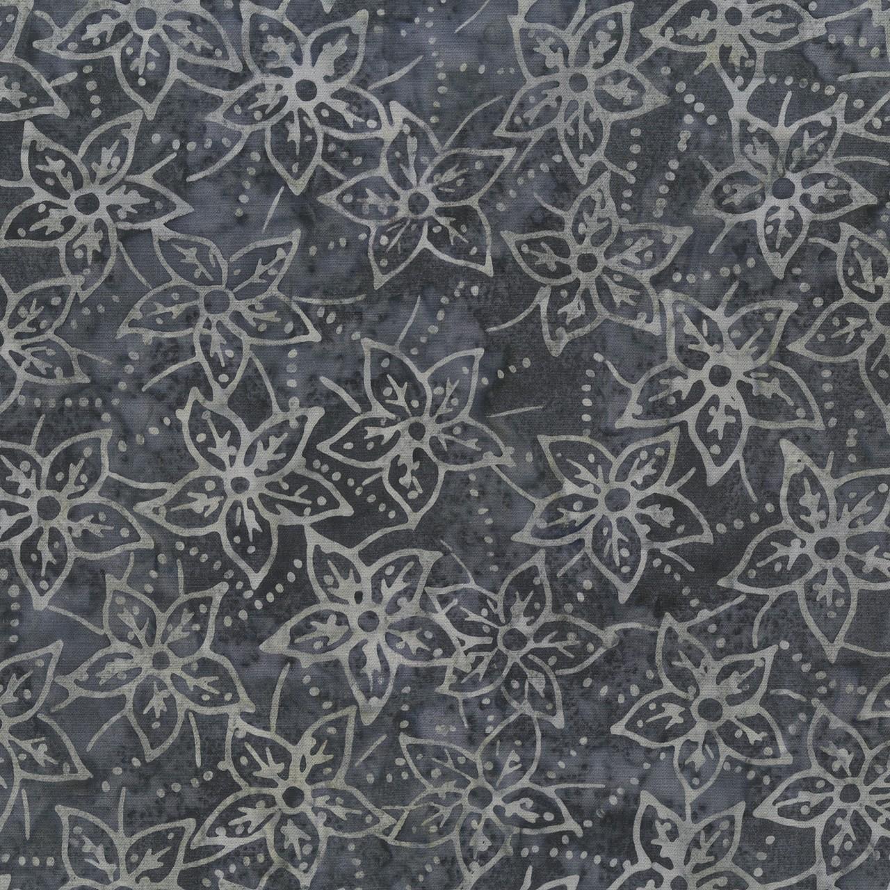 7392 Grå m. blomster bali batik