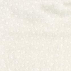 7378 Råhvid patchwork stof med hvide hjerter