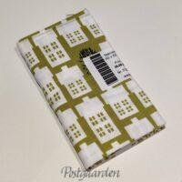 FQ6883 6883 Vårgrøn patchworkstof m. hvide huse fat quarter 50 x 55 cm