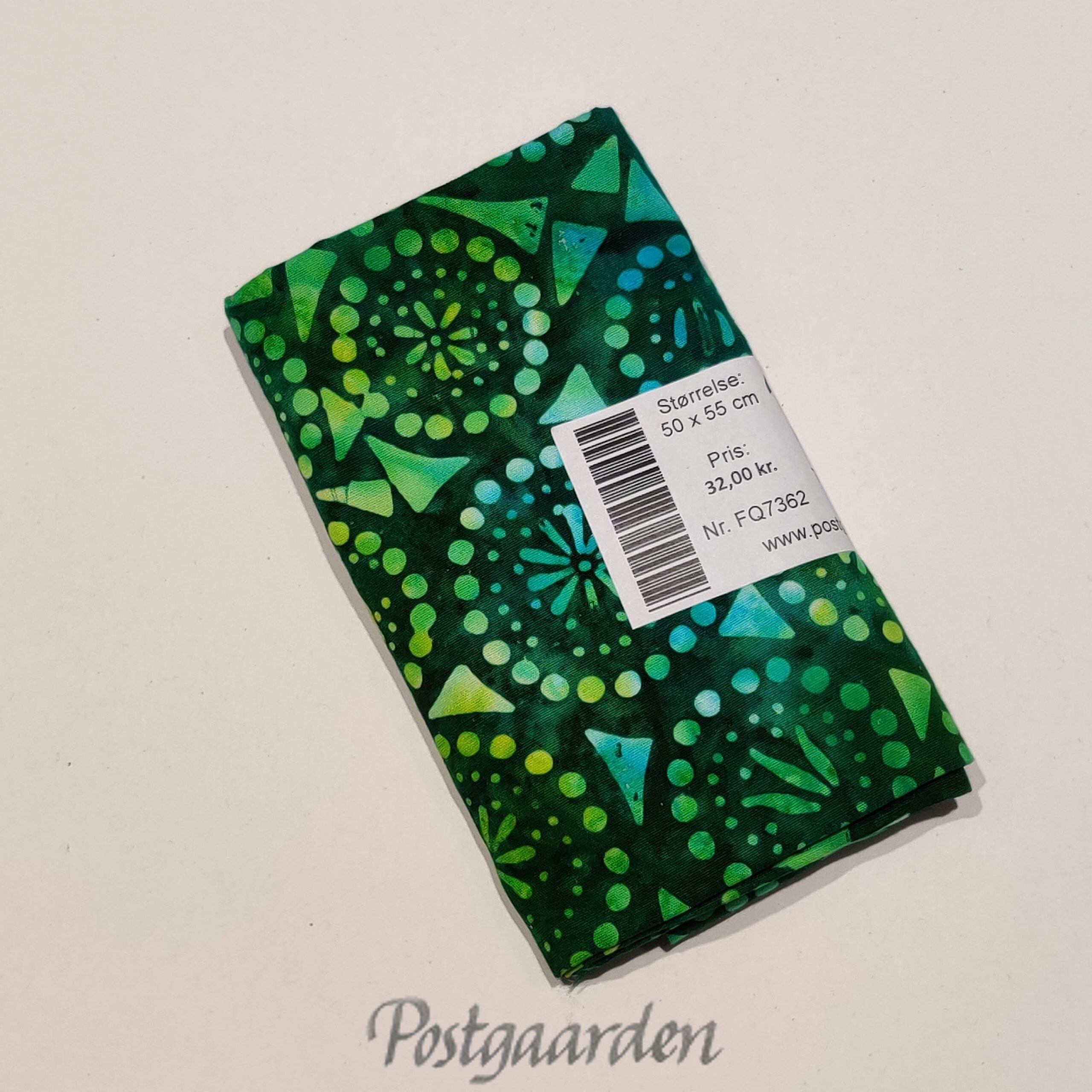 FQ7362 7362 Grøn med geometrisk mønster Bali Batik patchwork stof