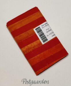FQ7373 7373 Rød Orange Strib - Bali Batik patchwork stof