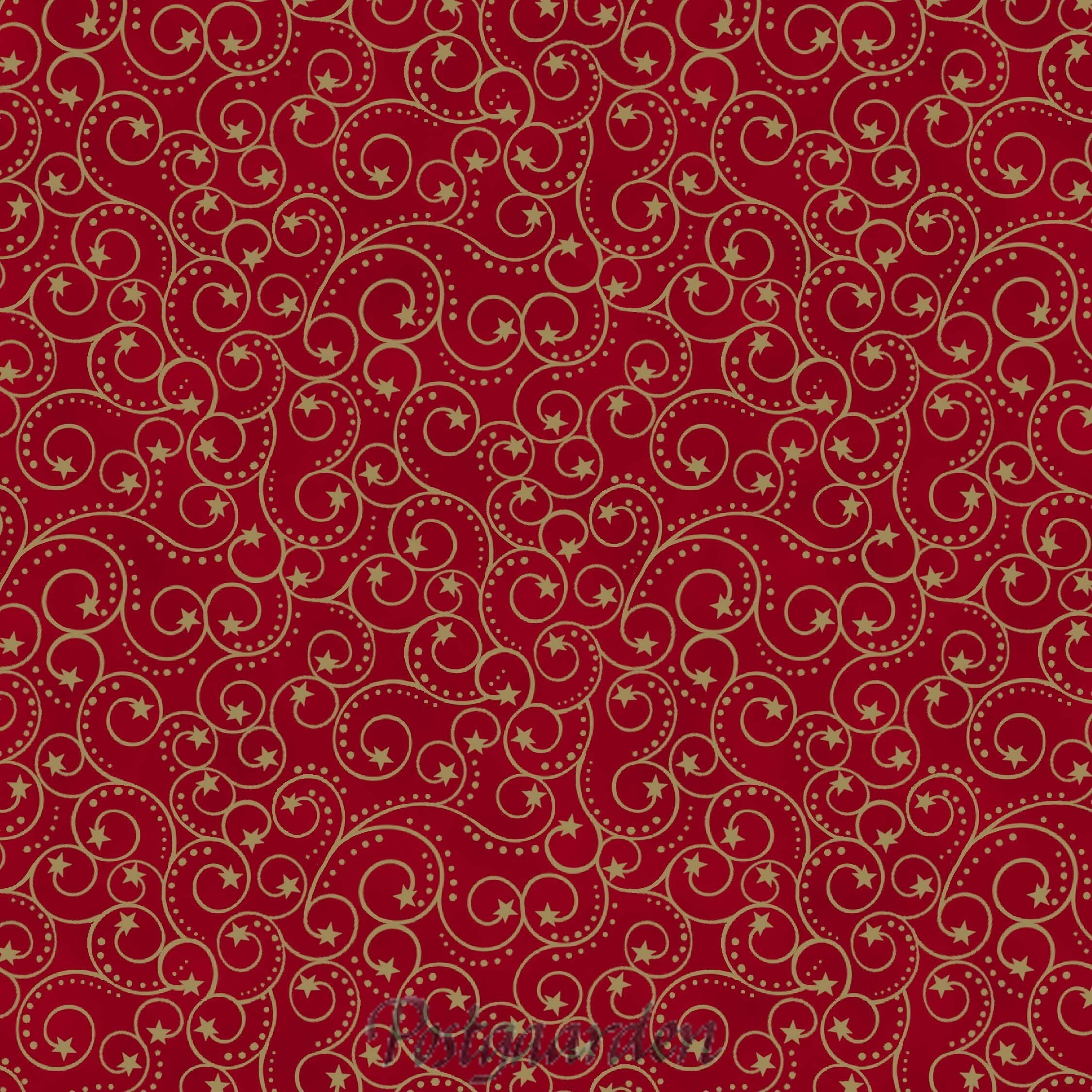 7441 FQ7441 - Rød m. guldsnirkler - JUL patchwork stof