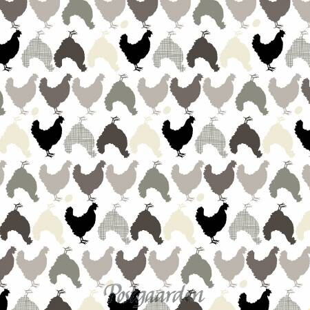 7438 Hvid patchworkstof med høner