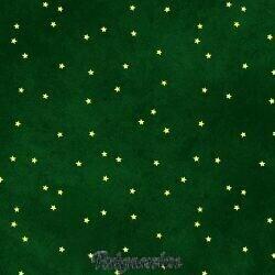 Grøn patchworkstof med guldstjerner