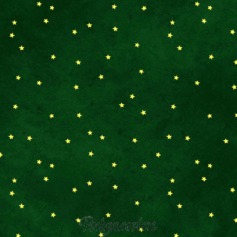 7446 Grøn patchworkstof med guldstjerner