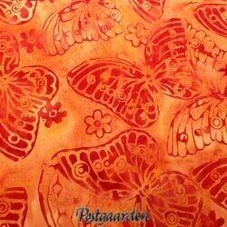 Laksefarvet bali batik patchworkstof med sommerfugle
